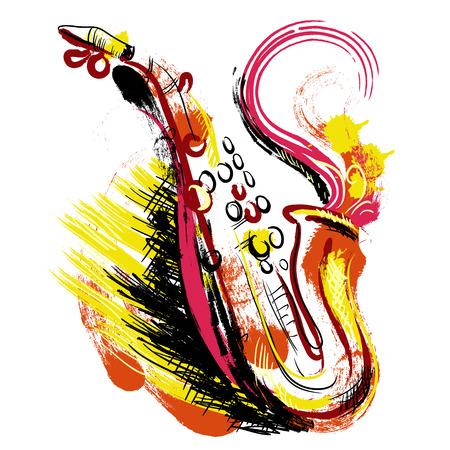 Saxophone. Hand drawn art de style grunge. Colorful rétro illustration vectorielle. Bannière, carte, réservation de chute, t-shirt, sac, impression, affiche.