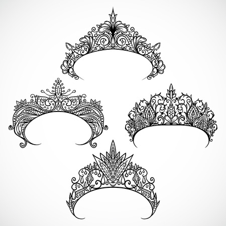 Collection of tiaras. Vintage hand drawn black and white vector illustration.