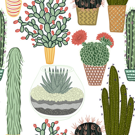 Seamless pattern with succulent plants and cactuses in pots. Vector botanical graphic set with cute florals.