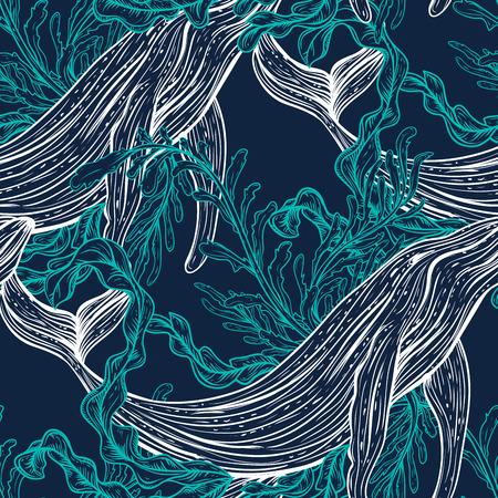 Naadloos patroon met walvis, zeeplanten en seaweeds.Vintage set van zwarte en witte hand getrokken marine life.Isolated vector illustratie in lijntekeningen style.Design voor de zomer strand, decoraties.