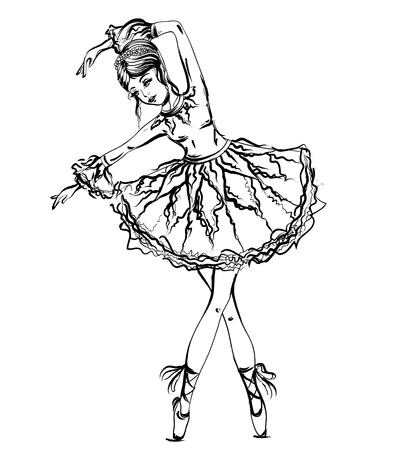 Ballerina. Vintage black and white hand drawn vector illustration in sketch style 向量圖像