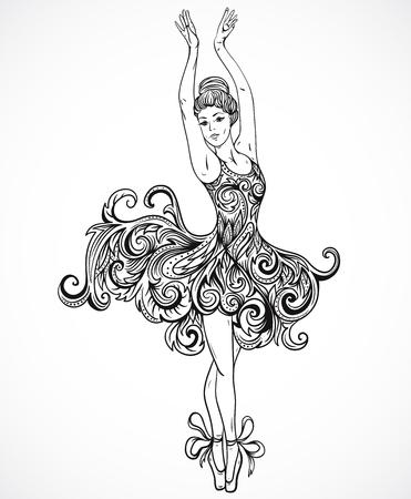 Ballerina z kwiatowym ornamentem sukience. Vintage ręcznie rysowane ilustracji wektorowych czarno-białe w stylu szkicu