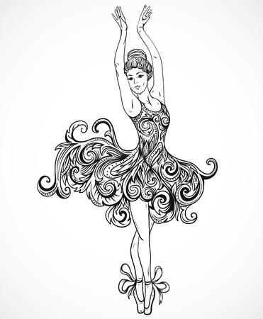 Ballerina with floral ornament dress. Vintage black and white hand drawn vector illustration in sketch style Illustration