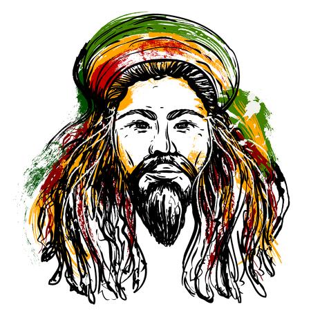 Portrait de rastaman. Jamaïque thème. Reggae concept de design. L'art du tatouage. Hand drawn art de style grunge. banner Retro, carte, t-shirt, sac, impression, poster.Vintage main colorée dessinée illustration vectorielle Banque d'images - 55517372