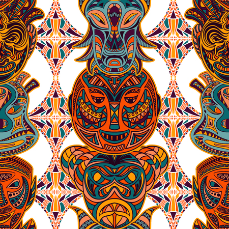 tiki head: Seamless pattern with tribal mask and aztec geometric latin American ornament. Colorful hand drawn vector illustration Illustration
