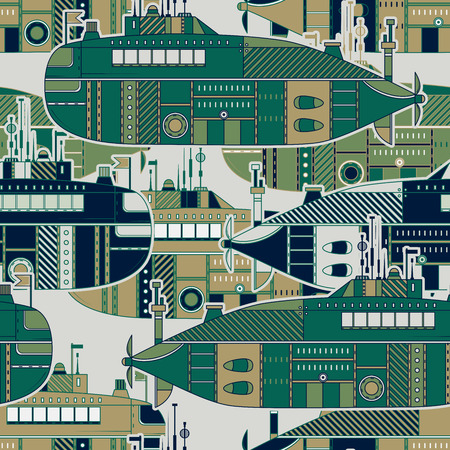 Seamless pattern with submarine. Retro colorful hand drawn vector illustration in line art style Illustration