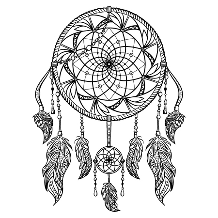 dreamcatcher: Dream catcher with ornament. Tattoo art. Retro banner, card, scrap booking, t-shirt, bag, print, poster.Highly detailed vintage black and white hand drawn vector illustration