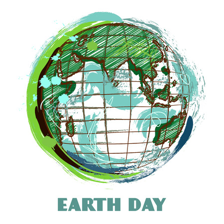 globe hand: Earth day poster with earth globe. Hand drawn grunge style art. Colorful retro vector illustration. Banner, greeting card, t-shirt, bag, print, poster.