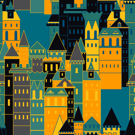 chateau: Seamless pattern with fairy medieval castles. Vintage colorful hand drawn vector illustration in line art style Illustration