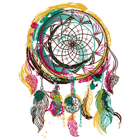 Dream catcher with ornament. Tattoo art. Hand drawn grunge style art. Colorful retro banner, card, scrap booking, t-shirt, bag, print, poster.Highly detailed vintage hand drawn vector illustration Ilustração