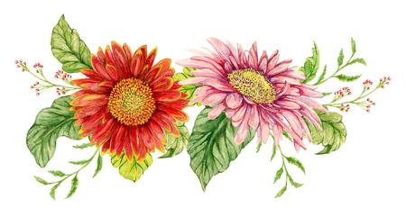 gerbera: Wreath with watercolor gerbera flower. Hand drawn illustration