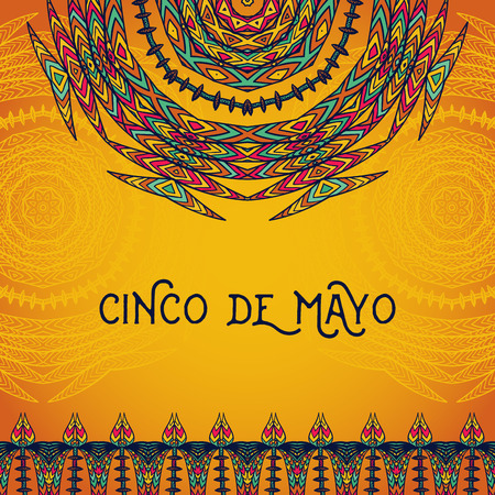 Beautiful greeting card, invitation for Cinco de Mayo festival. Design concept for Mexican fiesta holiday with ornate mandala and border frame ornament. Hand drawn vector illustration Ilustração