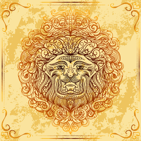 Lion Head with baroque ornament on grunge aged paper background. Vintage tattoo art. Concept design for card, print, t-shirt, postcard, poster. Hand drawn vector illustration Illustration