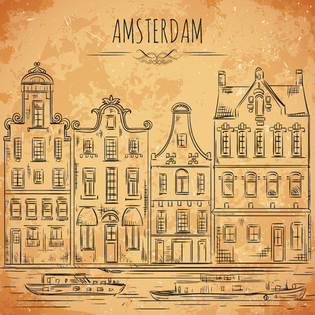 amsterdam canal: Amsterdam. Old historic buildings and canal. Traditional architecture of Netherlands. Vintage hand drawn vector illustration in sketch style on aged paper background Illustration