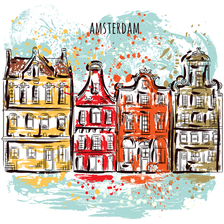Amsterdam. Old historic buildings and canal. Traditional architecture of Netherlands. Colorful hand drawn grunge style art. Vintage vector illustration. Banner, card, scrap booking, print, poster