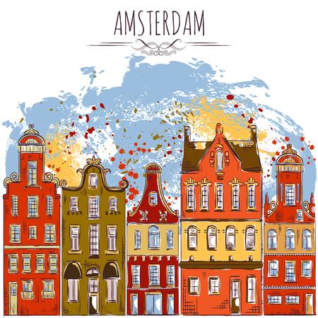 amsterdam canal: Amsterdam. Old historic buildings. Traditional architecture of Netherlands. Colorful hand drawn grunge style art. Vintage vector illustration.