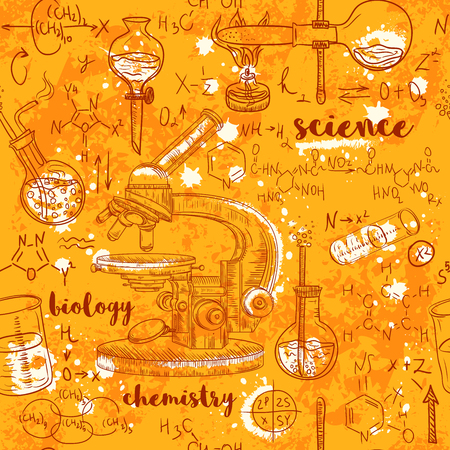 aged paper: Vintage seamless pattern old chemistry laboratory with microscope, tubes and formulas on aged paper background. Vector retro hand drawn illustration in sketch style
