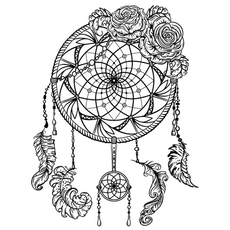 black roses: Dream catcher with ornament and roses. Tattoo art. Retro banner, card, scrap booking, t-shirt, bag, print, poster.Highly detailed vintage black and white hand drawn vector illustration