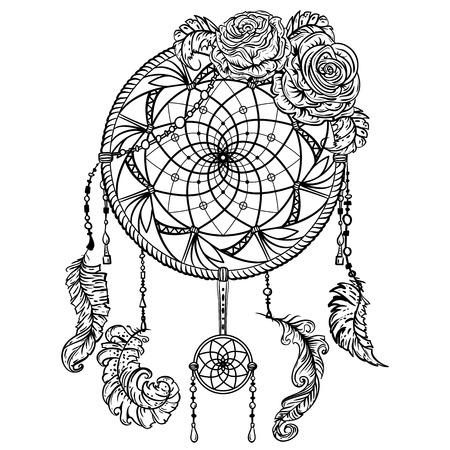 Colector ideal con el ornamento y rosas. arte del tatuaje. Bandera retra, la tarjeta, la reserva de chatarra, camiseta, bolso, impresión, ilustración vectorial poster.Highly detallado del vintage blanco y negro dibujado a mano