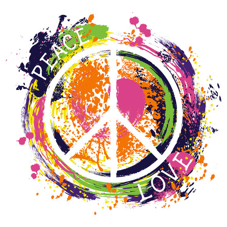 Hippie peace symbol. Peace and love. Colorful hand drawn grunge style art. Design concept for banner, card, scrap booking, t-shirt, bag, print, poster. Vintage vector illustration