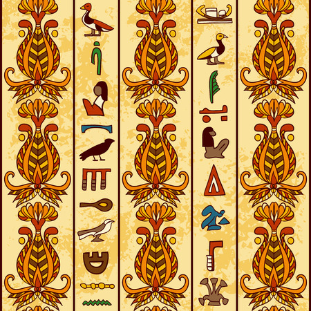 aged paper: Egypt colorful ornament with ancient Egyptian hieroglyphs and floral geometric ornament on aged paper background. Vector seamless pattern. Hand drawn vector illustration