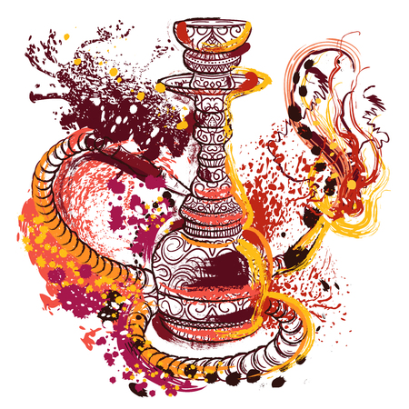 Hookah with oriental ornament and smoke. Hand drawn abstract grunge style art. Colorful retro banner, card, t-shirt, print, poster. Vintage vector illustration