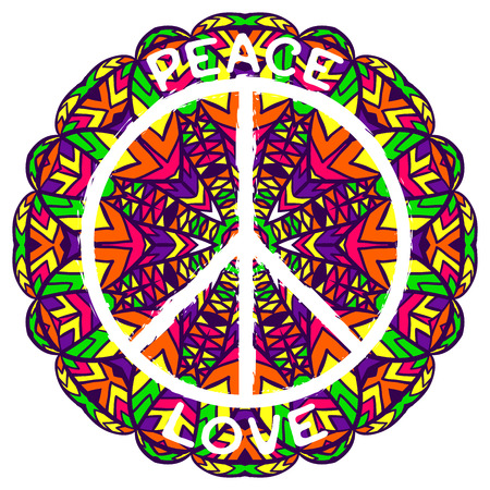banner of peace: Hippie peace symbol. Peace and love on ornate colorful mandala background. Design concept for banner, card, scrap booking, t-shirt, bag, print, poster. Retro hand drawn vector illustration