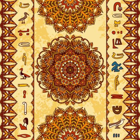 Egipto ornamento colorido con los jeroglíficos del antiguo Egipto y mandala adornada con el ornamento geométrico en el fondo de papel envejecido. Vector sin patrón. Mano vector dibujado