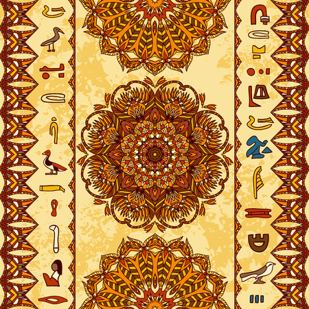 Egypt colorful ornament with ancient Egyptian hieroglyphs and ornate mandala with geometric ornament on aged paper background. Vector seamless pattern. Hand drawn vector illustration
