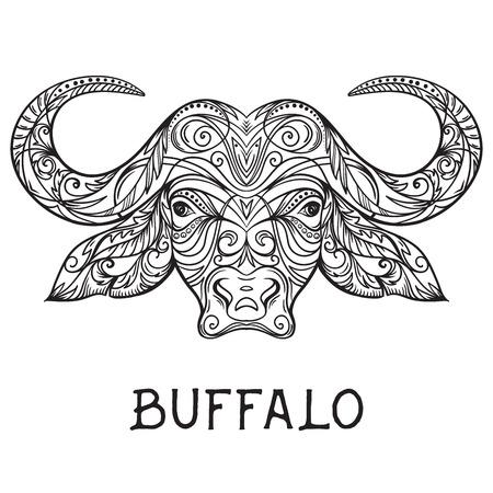 Buffalo hoofd met abstracte ornament. Tattoo art. Ontwerp concept voor banner, kaart, schroot het boeken, t-shirt, tas, print, poster.Highly gedetailleerde vintage zwart-wit hand getrokken vector illustratie