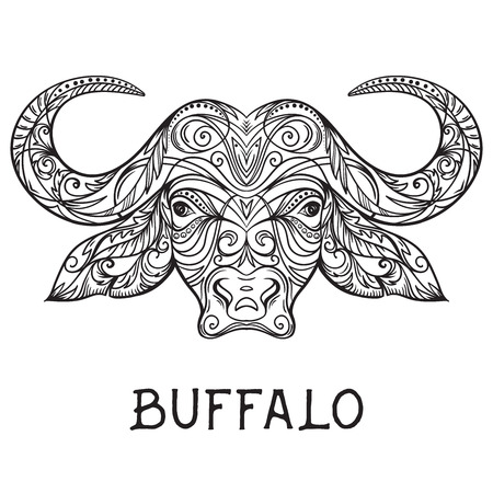 Buffalo head with abstract ornament. Tattoo art. Design concept for banner, card, scrap booking, t-shirt, bag, print, poster.Highly detailed vintage black and white hand drawn vector illustration Illustration