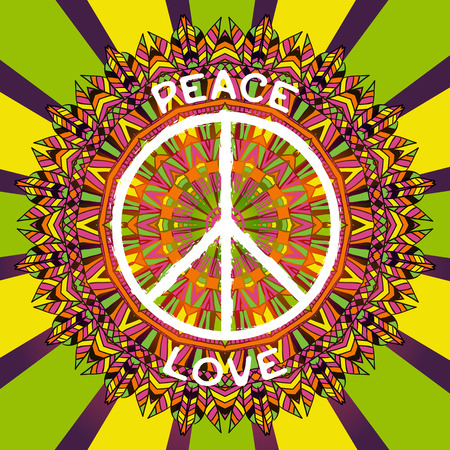 banner of peace: Hippie peace symbol. Peace and love sign on ornate colorful mandala background. Design concept for banner, card, scrap booking, t-shirt, bag, print, poster. Retro hand drawn vector illustration Illustration