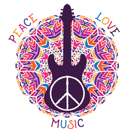 banner of peace: Hippie peace symbol. Peace, love, music sign and guitar on ornate colorful mandala background. Design concept for banner, card, scrap booking, t-shirt, bag, print, poster. Vector illustration Illustration