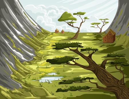 Sommer Berglandschaft mit grünen Wiese, Häuser und Bäume. Vektor-Illustration