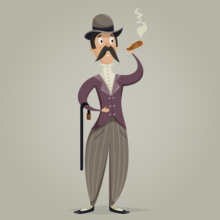 cigar cartoon: Gentleman with cigar and stick. Funny cartoon character. Vector illustration in retro style