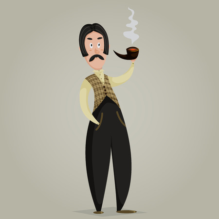 englishman: Gentleman with pipe. Funny cartoon character. Vector illustration in retro style
