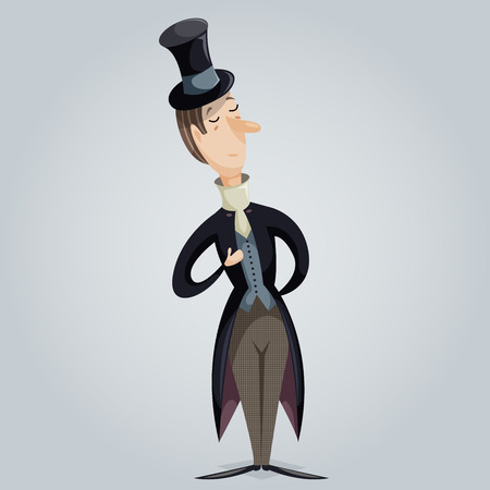 englishman: Gentleman. Funny cartoon character. Vector illustration in retro style