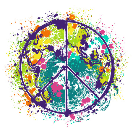 banner of peace: Hippie peace symbol on earth globe background with splashes in watercolor style. Design concept for banner, card, scrap booking, t-shirt, bag, print, poster. Retro hand drawn vector illustration Illustration