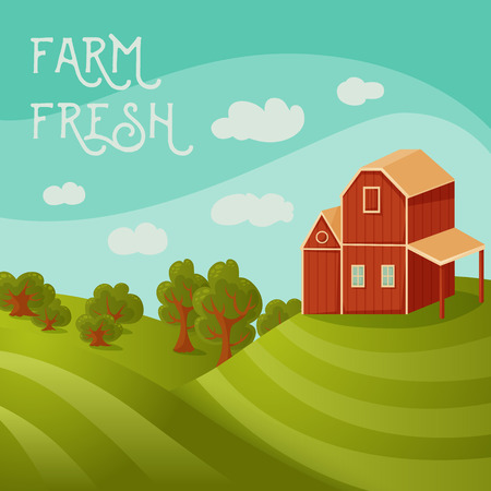 farmhouse: Farm fresh. Rural landscape with farmhouse, fields and trees. Cartoon vector illustration Illustration