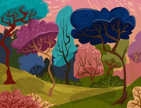 magical forest: Beautiful trees in magical forest. Cartoon colorful summer landscape. Vector illustration