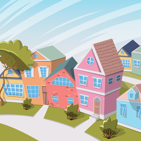 City landscape with houses and trees. Cartoon vector illustration