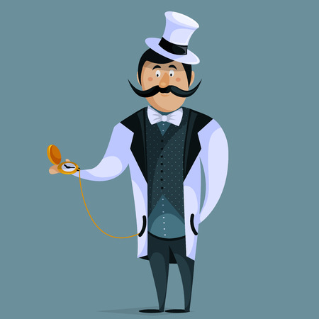 englishman: Gentleman with pocket watch on chain. Funny cartoon character. Vector illustration in retro style