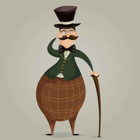englishman: Gentleman with monocle and stick. Funny cartoon character. Vector illustration in retro style