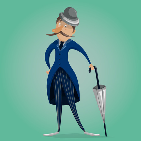 englishman: Gentleman with umbrella. Funny cartoon character. Vector illustration in retro style