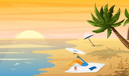 tropical sunset: Woman on beach Tropical sunset landscape with palm trees and umbrella.Vector illustration