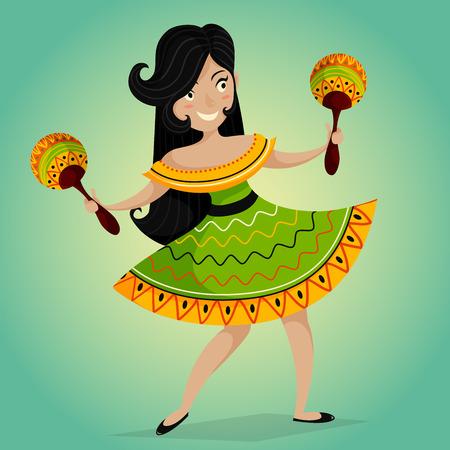Invito festa a Fiesta messicana con la bella donna che balla messicana con maracas.Vector illustrazione manifesto. Concetto di design per Cinco de Mayo Festival volantino, manifesto o biglietto di auguri Vettoriali