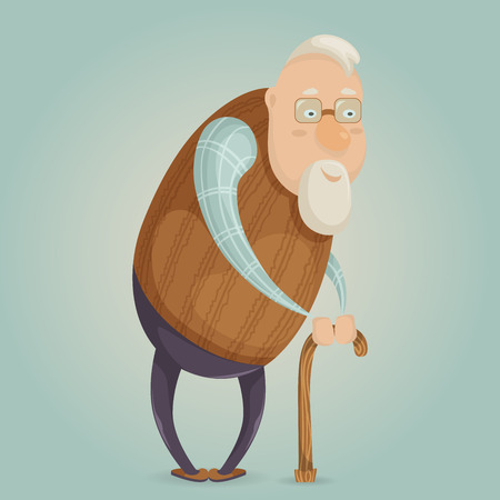 Old man cartoon character. Vector illustration Illustration