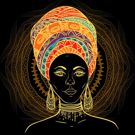 turban: Beautiful African woman in turban over ornate mandala round pattern. Hand drawn vector illustration. Design, card, print, poster, postcard