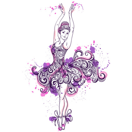 Ballerina with floral ornament dress and splashes in watercolor style. Vintage hand drawn vector illustration