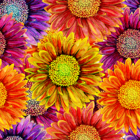 grunge floral: Seamless pattern with watercolor gerbera flower. Hand drawn illustration